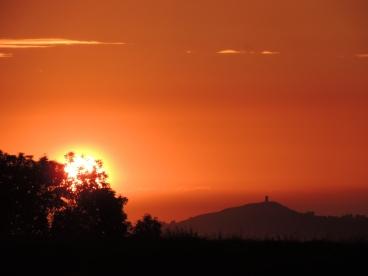 Sunset over Glastonbury Tor