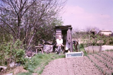 Granddad outside his shed