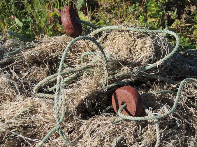 Tangled washed up fishing net