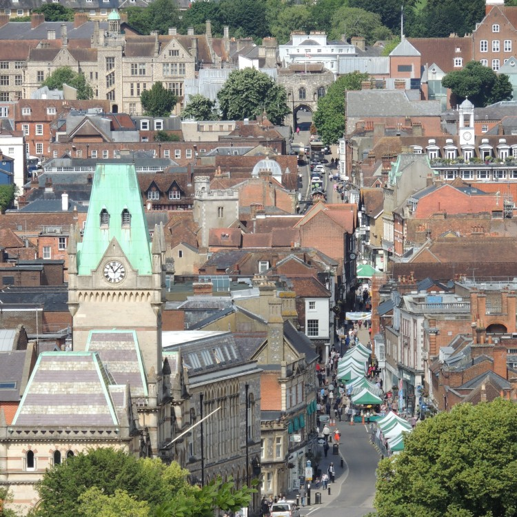 View of Winchester High Street from St Giles